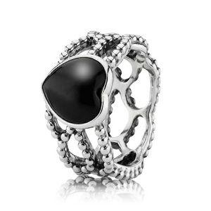 Retired Pandora black onyx heart ring size 56